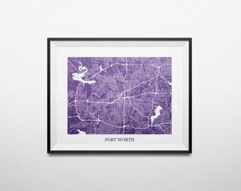 Fort Worth, Texas TCU Abstract Street Map Print