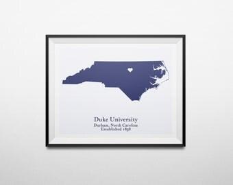 Duke University, Durham, North Carolina Map Print