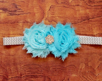 Blue Shabby Flower Headband