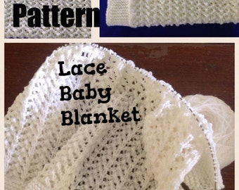 Pattern. Knit baby blanket. Lace, 8 ply yarn.