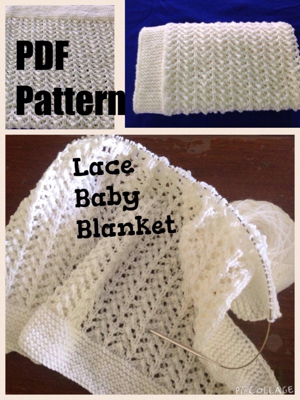 Pattern. Knit baby blanket. Lace 8 ply yarn.