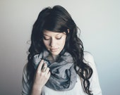 Lightweight Cotton Infinity Scarf- Two Toned, Blue, Minimalist, Fall Accessories, Circle, Trendy, Gift For Her