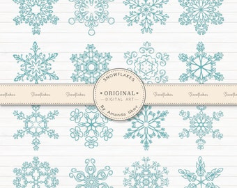 Premium Snowflakes Clipart, Snowflake Vectors, Snow Flake Clip Art - Blue Snowflakes, Christmas Clip Art, Vector Snow, Wedding Snowflakes