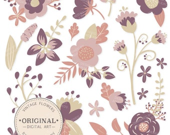 Premium Purple Floral Clipart & Flower Vectors - Purple Flowers, Vintage Flowers, Flower Clip Art, Vector Flowers