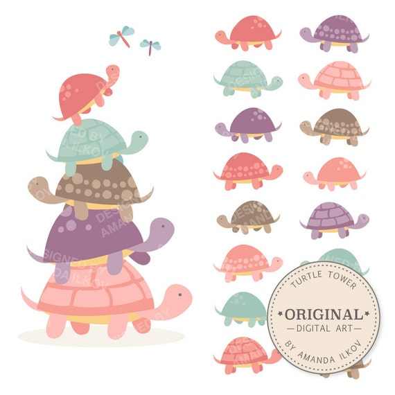 Premium Girls Turtle Tower Clip Art Amp Vectors Pink Turtles