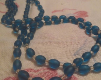 Vintage Glass Bead Necklace, Frosted Blue, 17in