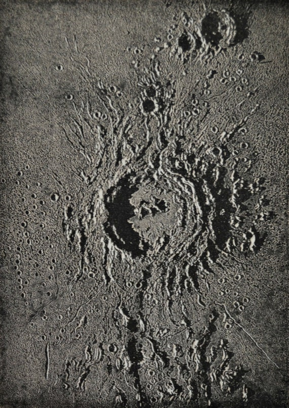 Copernicus lunar carter print. Astronomy engraving. Old book plate, 1897. Antique illustration. 118 years lithograph. 6 x 9'2 inches.