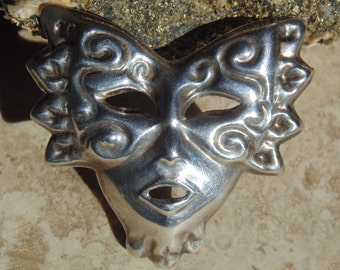 Mexican Sterling Silver Masked Face ~ Mardi Gras / Masquerade Brooch in Repousse