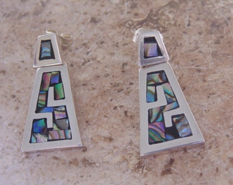 970 Mexico Silver Earrings with Inlaid Abalone for Pierced Ears