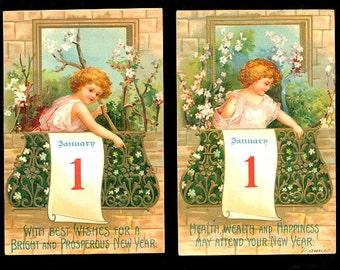 2 Ellen Clapsaddle Children New Years 1912 Postcards