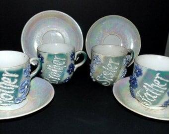 German Tea Set Blue Luster Glaze Mother Father Sister Brother