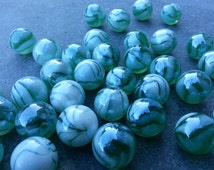 "SALE! Lot of 20 classic marbles - 16mm (0,63"") -  glass green white"
