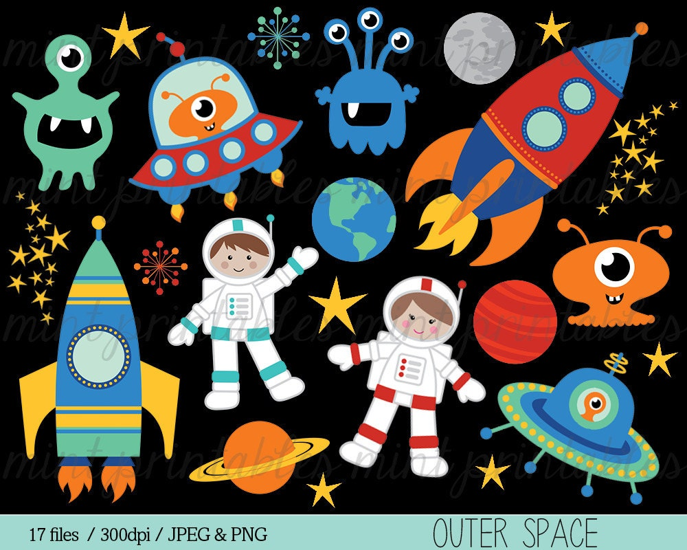 Platz rakete clipart clipart raumschiff rocketship astronaut for Space inspired fabric
