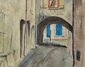 "watercolor painting,BLUE SHUTTERS painting,,art,scenic,european city painting, european cityscape,,9.25"" x 7"", red shutters, blue shutters,"