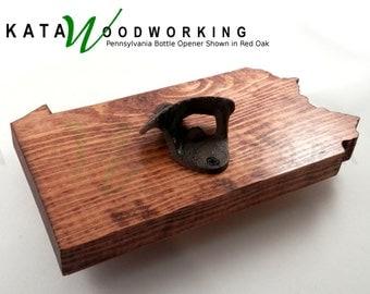 Pennsylvania Wood Cut-out Bottle Opener - Wall Mount - Handmade!