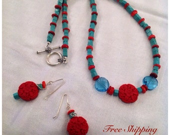 Necklace Set / Red Cinnabar and Turquoise Beaded Necklace and Earring Set / Turquoise and Red Necklace/Sterling Silver Ear Wires