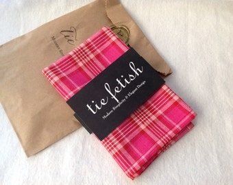 Pink, red and white plaid pocket square