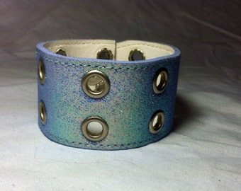 Upcycled Wrist Cuff, Silver Metal Rivets with Green, Blue, and Purple Glitter