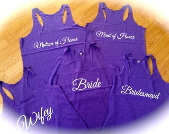 7 bachelorette party Flowy Tank Tops. Loose bridesmaid Tank Tops. Bridesmaid racerback tank tops . Bridesmaid shirts set of 7 . Bridal party