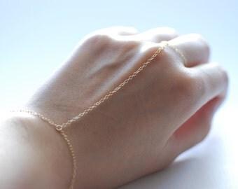 Slave bracelet - hand chain ring delicate 14k gold filled chain hand bracelet