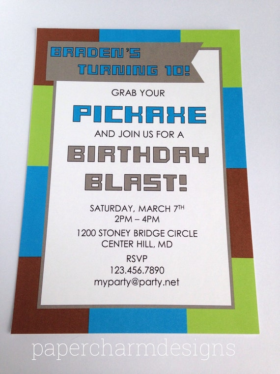 PRINTABLE Vibrant Miner Party Invitation (5 x 7-inches)