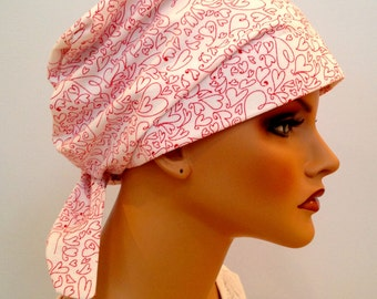 Sandra Scarf, A Women's Surgical Scrub Cap, Cancer Headwear, Chemo Head Scarf, Alopecia Hat, Head Wrap, Head Cover, Hair Loss - Hearts