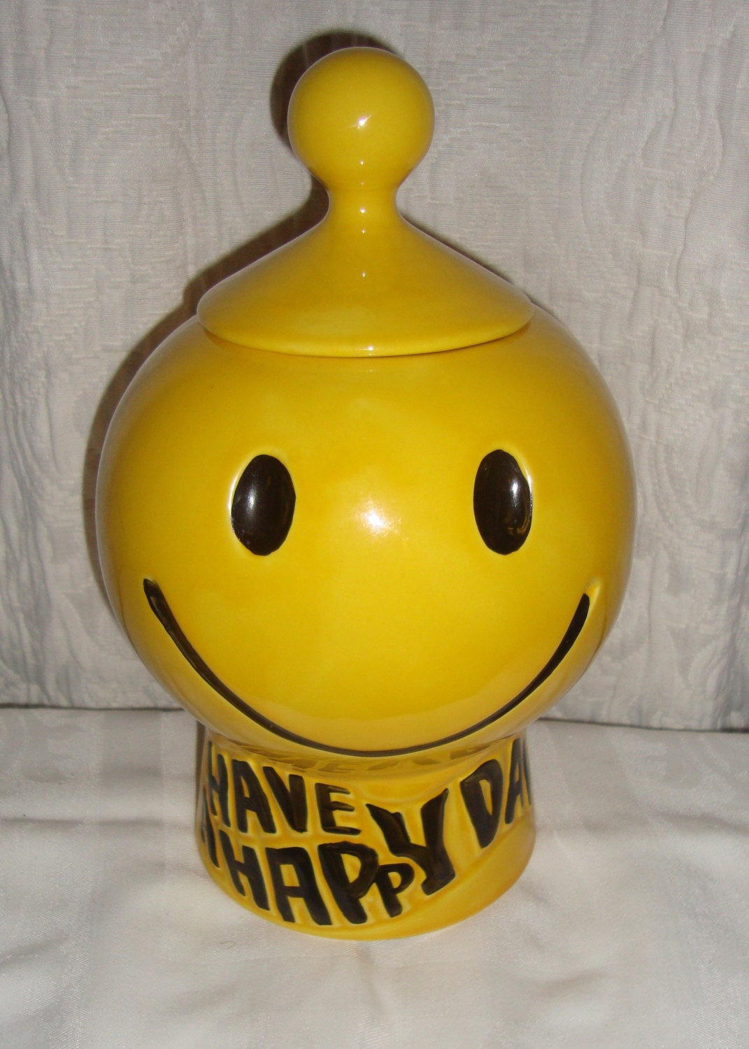 Mccoy Pottery Yellow Have A Happy Day Smiley Face Cookie Jar