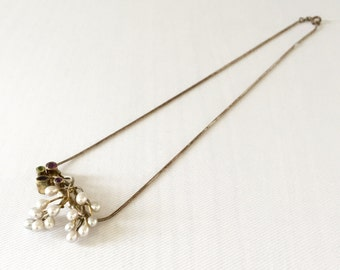 Vintage Sterling Silver Necklace & Pendant with Pearls and Gemstones   - Wedding, Bridal, Mother of the Bride, Bridesmaid, GF