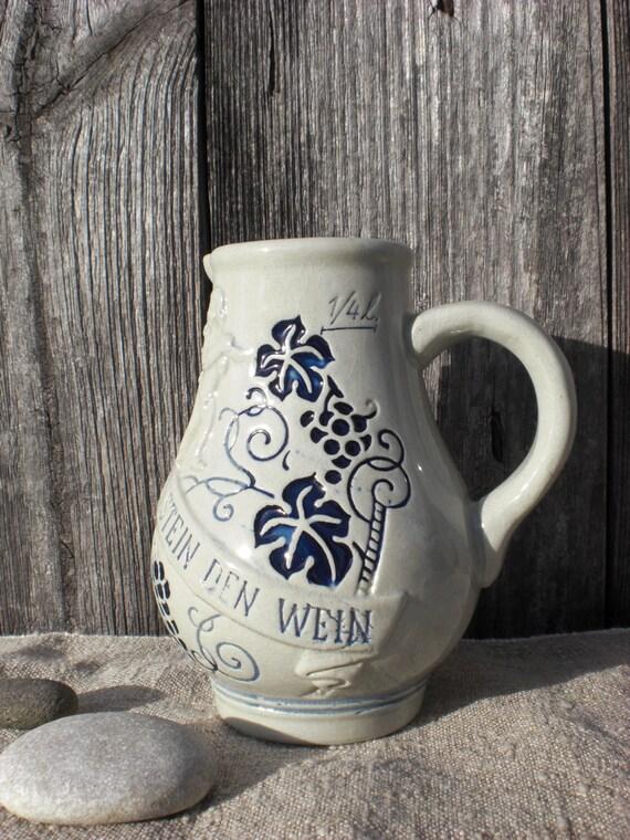 Pottery Ceramic Wine Jug Pitcher Rustic Stoneware Gray Blue