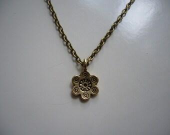 Rose Necklace - Flower Necklace - Antique Bronze Rose Necklace - Rose Pendant Charm - Nickel Free