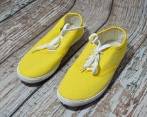 Vintage Unisex Sneaker - Yellow Tennis Shoes - Ked Shoes - Mens Shoes