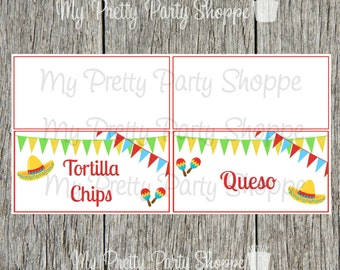 Printable Personalized Fiesta / Taco Bar / Cinco De Mayo / Nacho Bar / Mexican Party Food Tent Cards