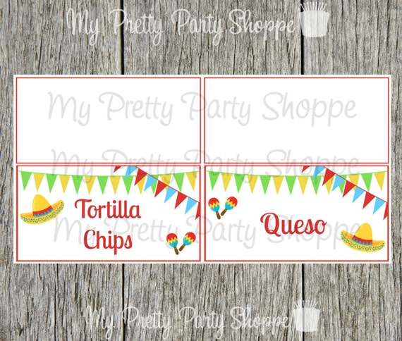 Printable Personalized Fiesta Taco Bar Cinco De Mayo