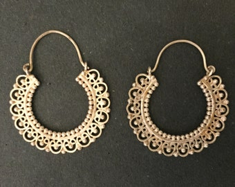 Gold Plated Silver Indian handmade Hoop Earrings 113JE72