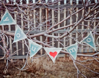 You + Me - Rustic Valentine Pennant Garland