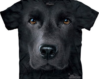 Black Lab Labrador retriever Face T-shirt Great Christmas Gift Big pet animal face Tie Dye washed Shirts S-3XL