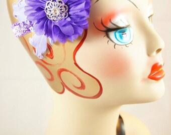 Purple feathered headband