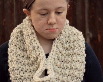 handknit oversized textured chunky scarf cowl - in winter white