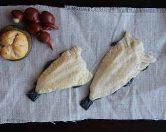 Salt cod, 1:12 scale Medieval Tudor dollhouse, Wolf Hall miniature food, stockfish bacalhau bacalao baccala morne