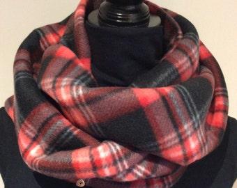 Black and red Fleece Infinity Scarf, loop scarf, circle scarf, men scarf, women scarf