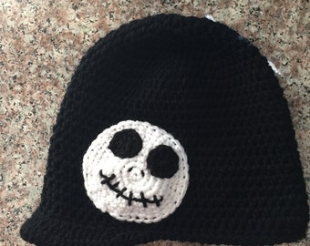 Crochet brimmed Jack Skellington hat (1 year and up)