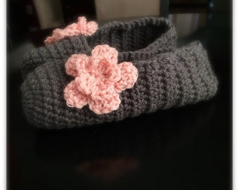 Adult Crochet Slippers with flower