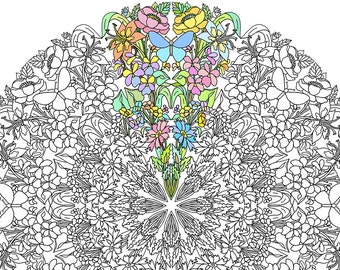 Mandala Color Sheet - Wildflower Mandalas Digital Coloring Pages