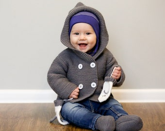 MADE TO ORDER/ Hand knitted baby sweater with hood and pockets/ merino wool