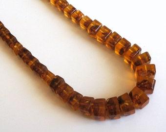 Vintage Art Deco Geometric Honey Amber Graduating Beads ~ Vintage Meet Modern Necklace ~