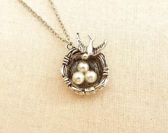 Birds Nest Necklace, Bird Nest Jewelry, Mini Birds Nests
