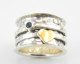 Heart of gold sterling silver meditation ring