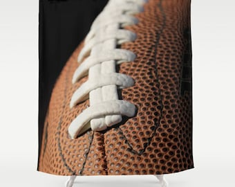 Football Shower Curtain 71x74 Dorm Bath Brown U0026 White Sports Bathroom