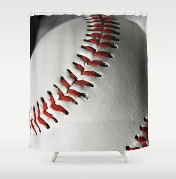 Baseball Shower Curtain-Sports Bathroom Decor-Boys Bathroom