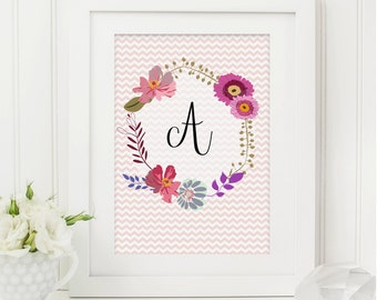 Floral Monogram Print - Personalised Print - Girls Print - Little Girls Gift - New Baby Gift - Nursery Print - Baby Gift - Baby Girl Gift